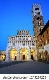 LUCCA, ITALY -30 SEP 2018- View of the landmark Renaissance Lucca Cathedral (Duomo di Lucca, Cattedrale di San Martino), a Roman Catholic cathedral in Lucca, a historic city in Tuscany, Central Italy.