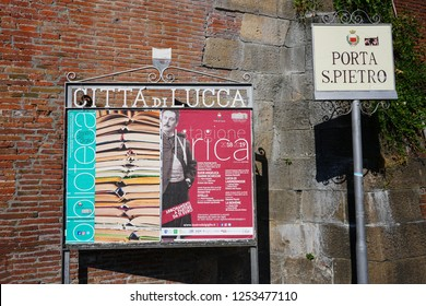 LUCCA, ITALY -30 SEP 2018- View of a sign for the Citta di Lucca outside the landmark Renaissance city walls in Lucca, a historic city in Tuscany, Central Italy.