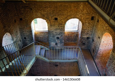 LUCCA, ITALY -30 SEP 2018- Interior view of the landmark Torre Guinigi tower in Lucca, a historic city in Tuscany, Central Italy.