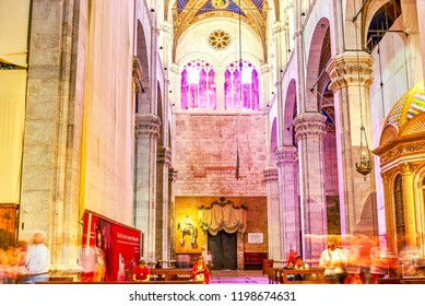 LUCCA, ITALY - APRIL 30, 2013: The modestly decorated prayer hall of Cathedral in gothic style, on April 30 in Lucca