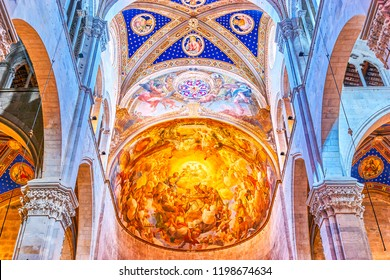 LUCCA, ITALY - APRIL 30, 2013: The beautiful frescoe on the half-cupola of the Apse of Cathedral, on April 30 in Lucca