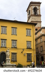 LUCCA, ITALY - AUGUSt 15 2015: Piazza del Salvatore square in Lucca, with a fountail and tower