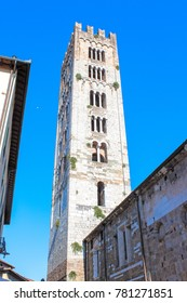 Lucca, Italy, AUGUST 31, 2013, Basilica of San Frediano in Lucca - back side view.