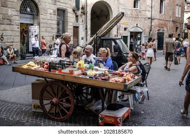 Lucca, Italy - Circa August 2017: Ambulant grocery store in Via Fillungo