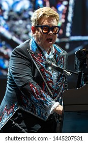 LUCCA, ITALY - JULY 07, 2019:  Sir ELTON JOHN performs on stage of Lucca Summer Festival 2019. July 07, 2019 in Lucca, Italy