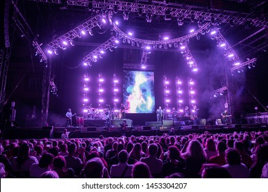 LUCCA, ITALY - JULY 16, 2019:  The italian singer Eros Ramazzotti perform on stage of Lucca Summer Festival in Lucca for his vita ce n'è world tour.