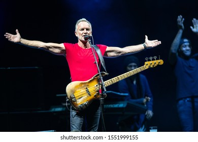 LUCCA, ITALY - JULY 29, 2019:  STING performs in front of thousands of people on the stage of the Lucca summer festival in Piazza Napoleone in Lucca