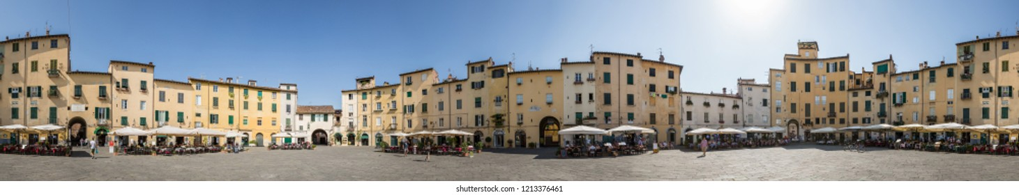 Lucca Italy July 4th 2015 : 360 degree panorama of Piazza dell'Anfiteatro which is a public square in the northeast quadrant of walled center of Lucca, region of Tuscany, Italy