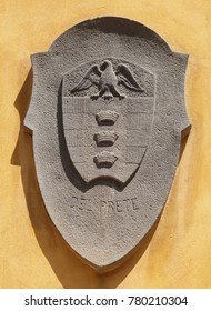 LUCCA, ITALY - JUNE 03: Coat of arms of the family Del Prete in Lucca, Tuscany, Italy on June 03, 2017.