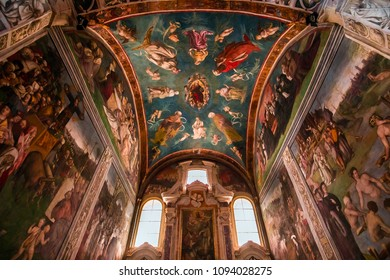 LUCCA, ITALY, JUNE 04, 2016 : interiors and architectural details of san Frediano basilica, june 04, 2016 in Lucca, Tuscany, Italy