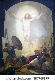 LUCCA, ITALY - JUNE 06, 2015: Altarpiece depicting Resurrection of Christ, work by Michele Ridolfi in Cathedral of St.Martin in Lucca, Italy, on June 06, 2015
