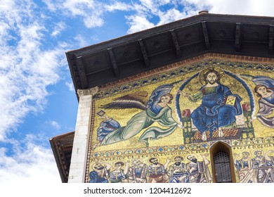 Lucca, italy, october 16, 2018: the ancient san Frediano church in the centre of Lucca, in tuscany