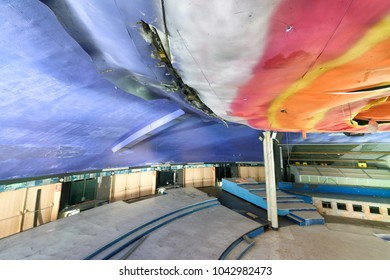 LUCCA, ITALY - OCTOBER 2017: Eko discoteque interior view. It is an abandoned disco that wa famous in the 80s and 90s