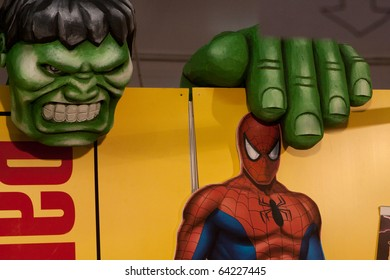 LUCCA, ITALY - OCTOBER 30: Hulk and Spiderman promo statues at Lucca Comics and Games 2010 fair on October 30, 2010 in Lucca, Italy.