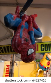 LUCCA, ITALY - OCTOBER 30: Spiderman statue at Lucca Comics and Games 2010 fair on October 30, 2010 in Lucca, Italy.
