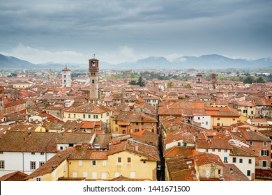 Lucca, Italy. Panoramic view over the city center