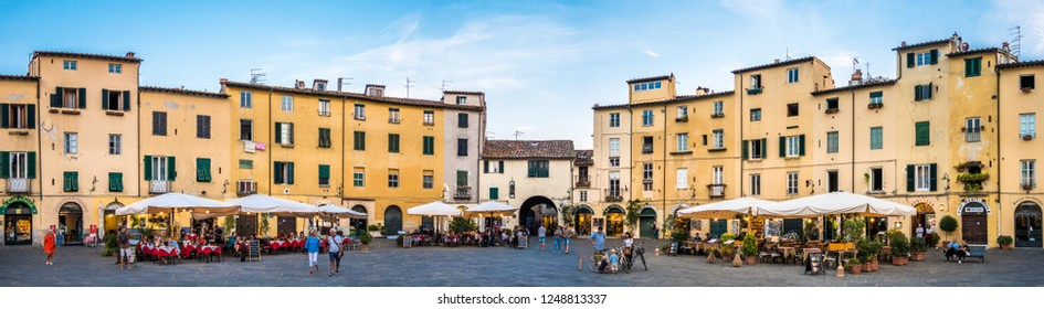 Lucca - Italy, September 19: beautiful old facades in the famous old town of lucca on september 19,2018