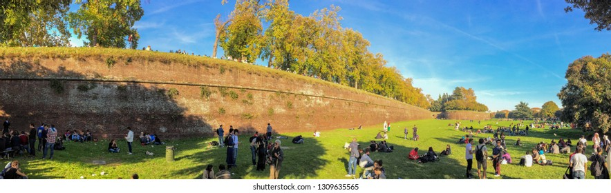 LUCCA - NOVEMBER 1, 2014: Crowd in the city during Lucca Comics festival. The event is the most important festival held in Lucca.