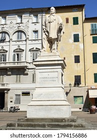 Lucca, Tuscany / Italy - August 08, 2020: marble statue of Giuseppe Garibaldi, by Urbano Lucchesi, in Del Giglio square, next to the municipal theater