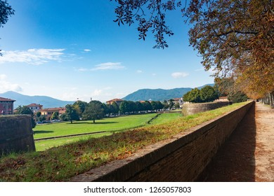 Lucca Tuscany, September 2018. City walls of Lucca.View at the town and landscape from the boulevard on the city wall.