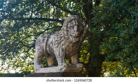 Lucca Tuscany, September 2018. City walls of Lucca. Sculpture of lion at the city walls of Lucca.