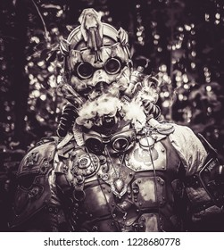 Lucca/Italy - November 2018 : Cosplayer at Lucca Comics free event  steampunk musk and costume