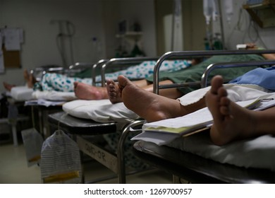 Lucena City, Philippines - December 29, 2018: Patients recovering from surgery at a hospital in Lucena City,Philippines