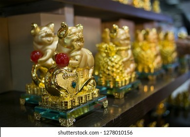 Lucena City, Philippines - January 6, 2019: Golden pig icon for 2019 year of the pig chinese new year in Lucena City, Philippines.