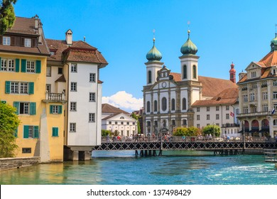 Lucerne city view with river Reuss and Jesuit church, Switzerland