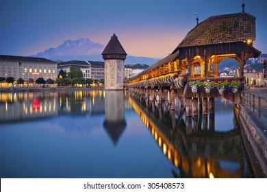 Lucerne. Image of Lucerne, Switzerland during twilight blue hour.