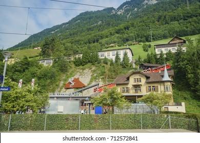 Lucerne, JUL 16: The Mount Pilatus train station on JUL 16, 2017 at Lucerne, Switzerland