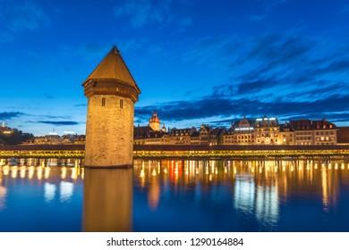 Lucerne (Luzern) Switzerland, Sunset city skyline at Chapel Bridge