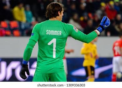 LUCERNE - NOV 18, 2018: Yann Sommer 1. Switzeland - Belgium. UEFA Nations League. Swissporarena, Luzern