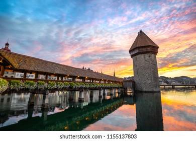 Lucerne sunrise city skyline at Chapel Bridge, Lucerne (Luzern) Switzerland
