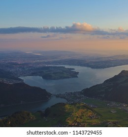 Lucerne at sunrise, view from mount Stanserhorn.