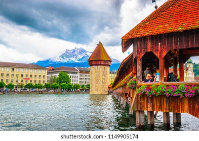 LUCERNE, SWITZERLAND, 17.06.2016: City center with famous Chapel Bridge and lake in Lucerne
