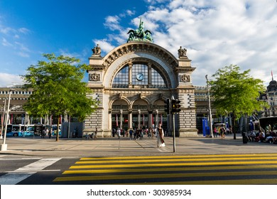 LUCERNE, SWITZERLAND - AUGUST 2: Views of the famous old railway station gate in Lucerne on August 2, 2015. Lucerne is a famous tourist destination in Switzerland.