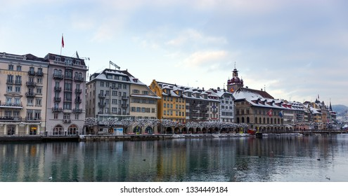 LUCERNE, SWITZERLAND - DECEMBER 31: View of Lucerne in the winter on December 31, 2014. Lucerne is a city in central Switzerland, in the German-speaking portion of the country.