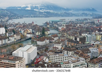 LUCERNE, SWITZERLAND - FEBRUARY 19, 2012: Aerial view to the historical part of the Lucerne city, Switzerland.