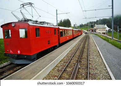 Lucerne, Switzerland - June 18, 2016: The Vitznau-Rigi Railway, Europe's first rack railway, operates between Vitznau, Rigi Kaltbad and Rigi Kulm.