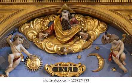LUCERNE, SWITZERLAND - JUNE 24, 2018: God the father statue on the Soul altar in the church of St. Leodegar in Lucerne, Switzerland