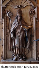 LUCERNE, SWITZERLAND - JUNE 24, 2018: Saint Leodegar, door of the church of St. Leodegar in Lucerne, Switzerland