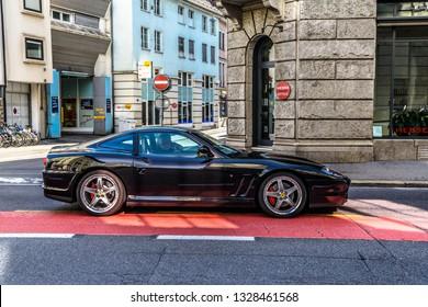 LUCERNE, SWITZERLAND - MAI 2017: black FERRARI 550 MARANELLO Lucerne, Luzern Switzerland