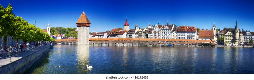 LUCERNE, SWITZERLAND - Mai 5, 2016 - Historic city center of Lucerne with famous Chapel Bridge and lake Lucerne (Vierwaldstatersee), Canton of Lucerne, Switzerland