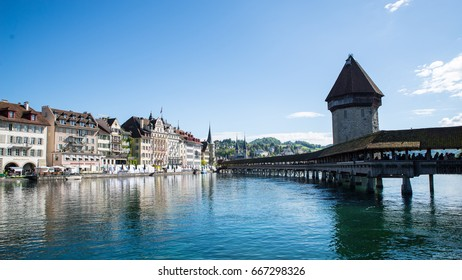 Lucerne, Switzerland May 13 2017: A view of Chapel Bridge and the city. Lucerne, Switzerland