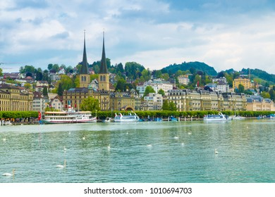 Lucerne, Switzerland - May 15, 2016: Cityscape of Lucerne along Lake Lucerne and the Reuss river.