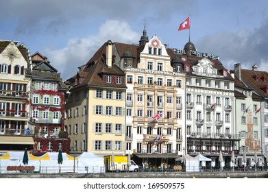 LUCERNE, SWITZERLAND - NOVEMBER 5, 2013: View of embankment in center of Lucerne. Lucerne - the city in the heart of the Swiss plateau, the capital of the eponymous German-speaking canton of Lucerne.