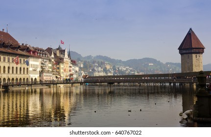 Lucerne, Switzerland - October 24, 2016 : View of Chapel Bridge and lake Lucerne Switzerland