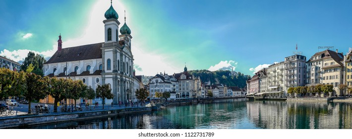 Lucerne / Switzerland - October 3 2016: Panorama of the Lucerne riverside in Switzerland