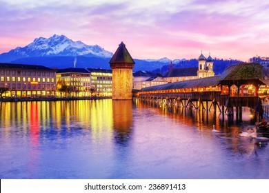 Lucerne, Switzerland, on sunset